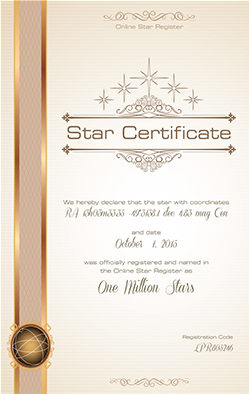 Personalized star certificate