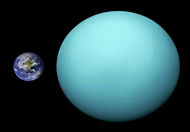 Uranus and Earth in comparison.