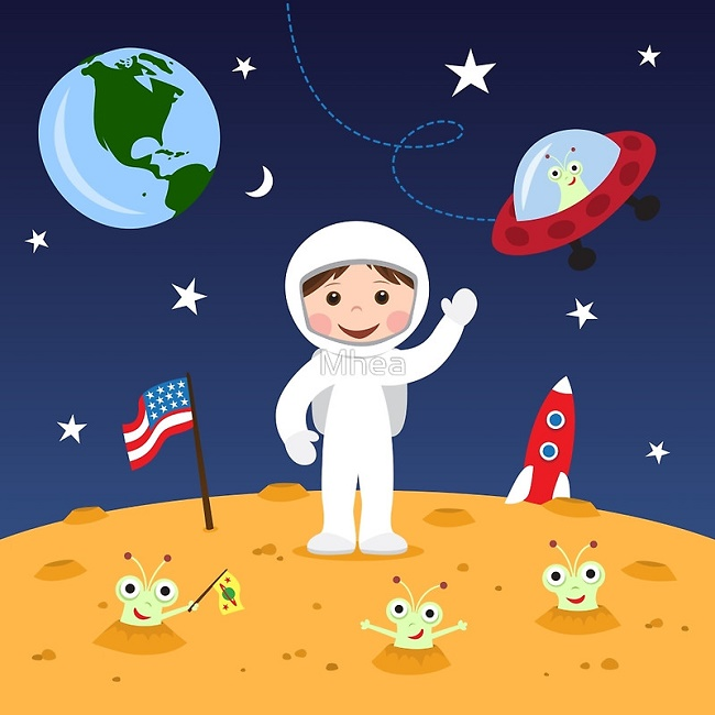 cartoon astronaut in outer space - photo #11