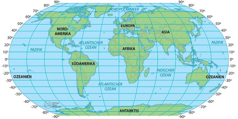 Breitengrade der Welt