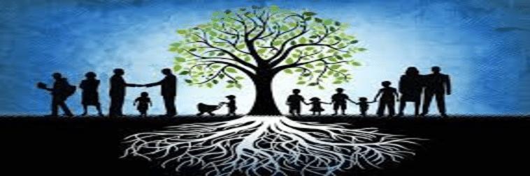 une famille stylisée tous unis sous un grand arbre