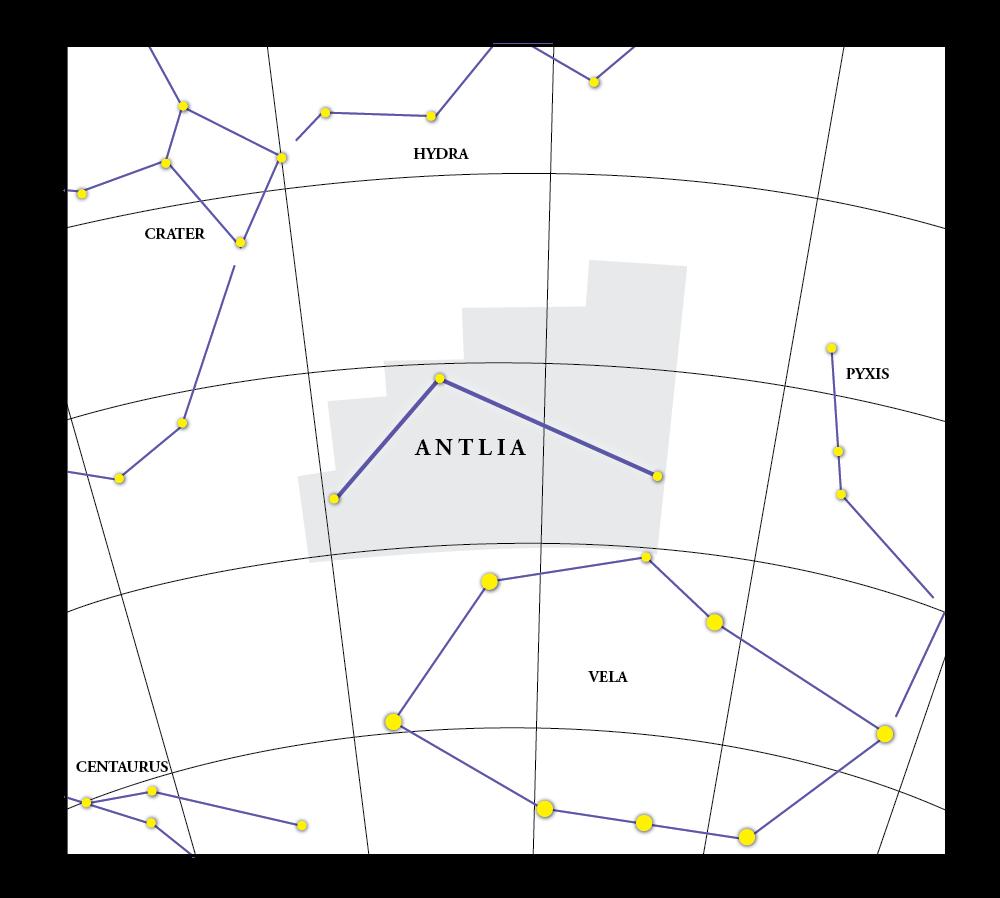 Antlia Constellation Map