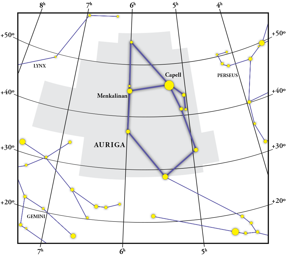 Auriga Constellation Map
