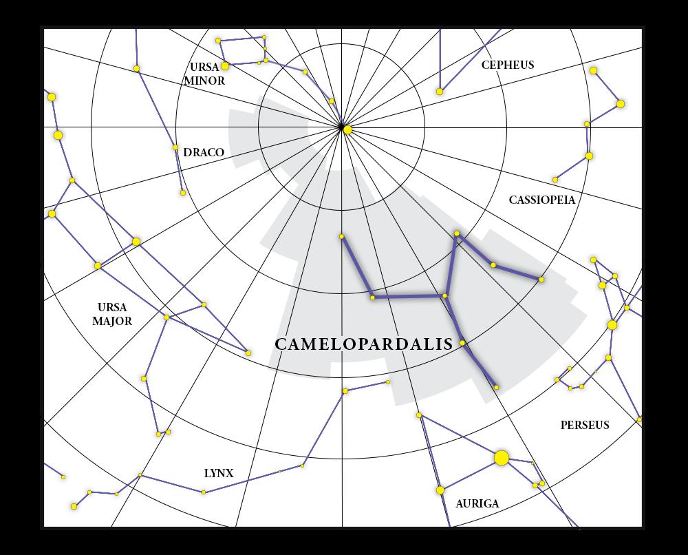 Camelopardalis 별자리 지도