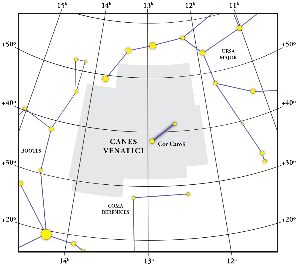 Canes Venatici Constellation Map