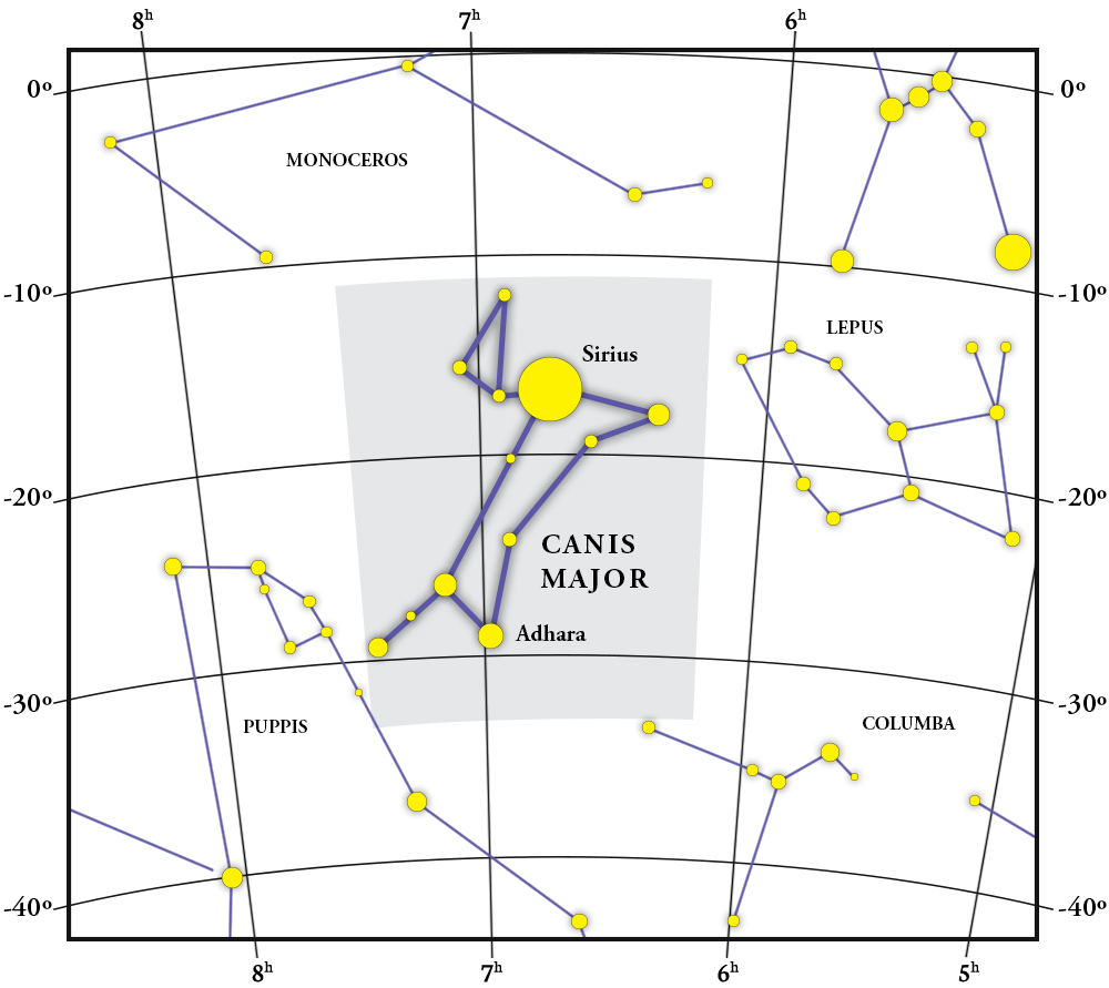 Canis Major Constellation Map