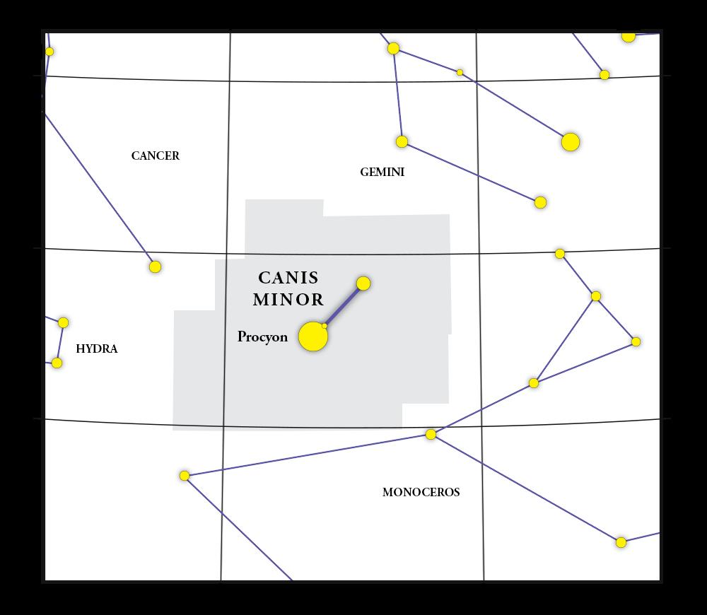 Canis Minor Constellation Map