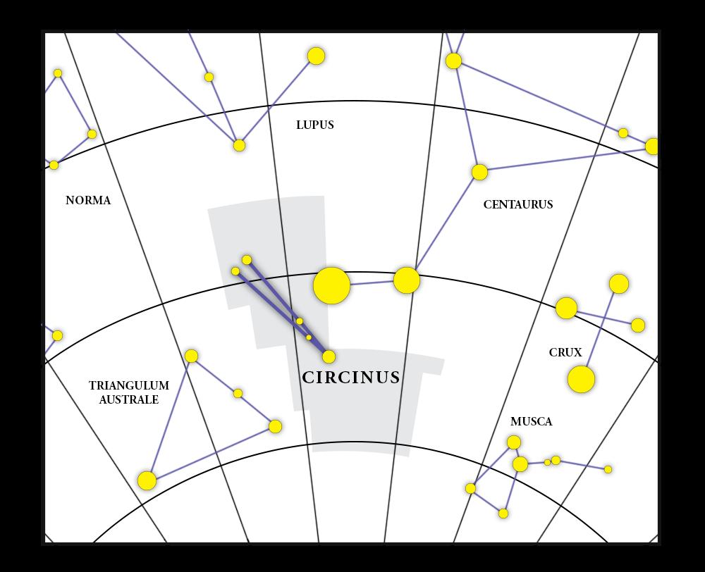 Circinus 별자리 지도