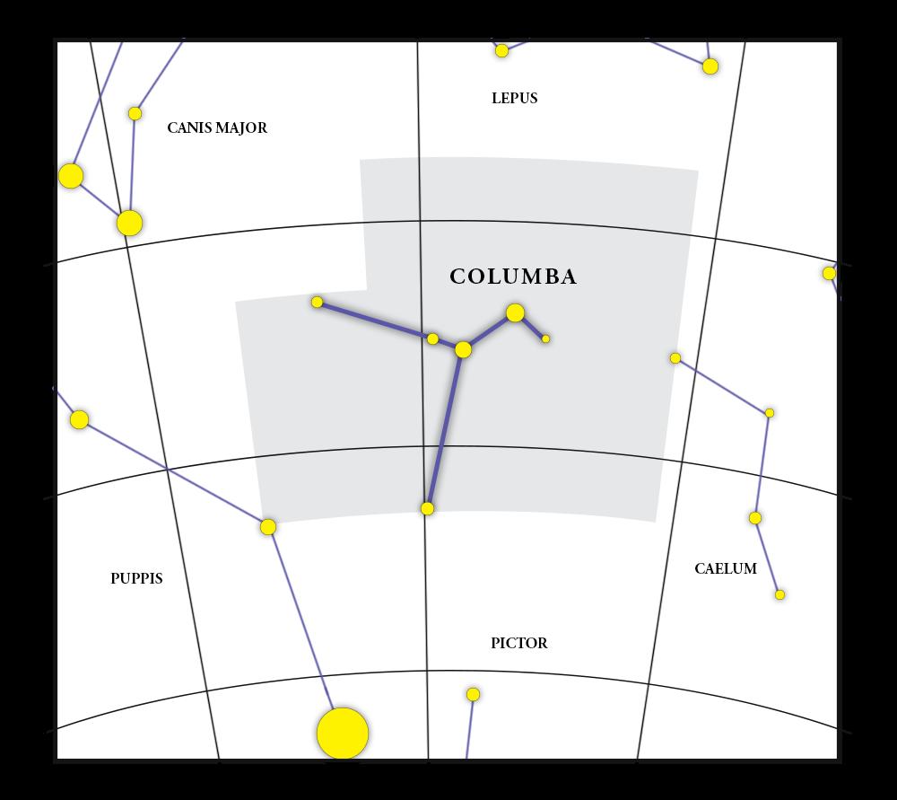 Columba Constellation Map