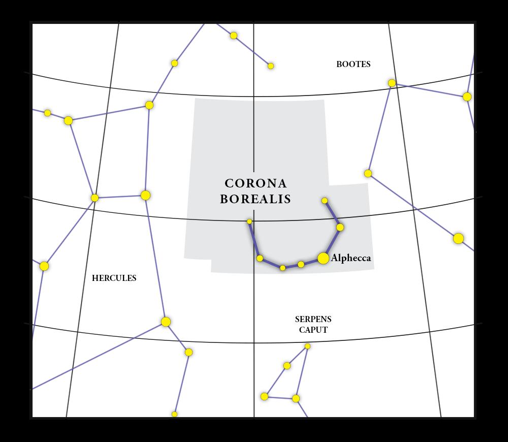 Corona Borealis Constellation Map
