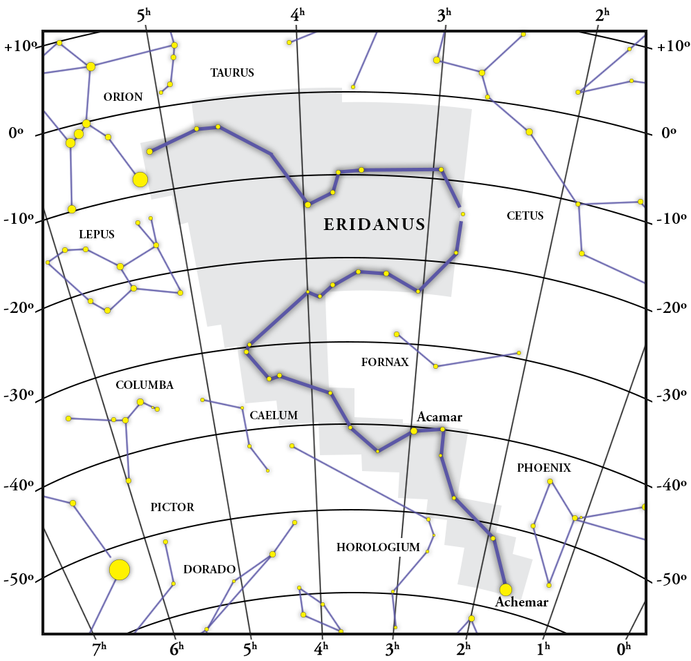 Eridanus Constellation Map