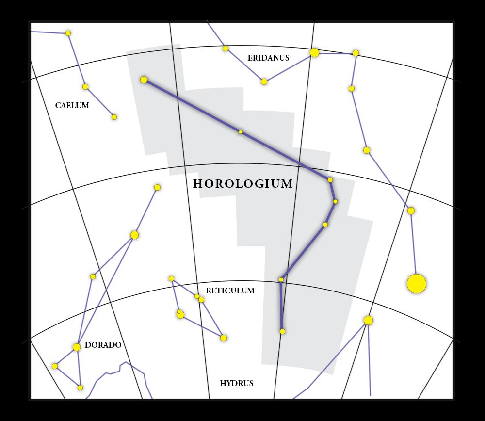 Mappa della costellazione Horologium