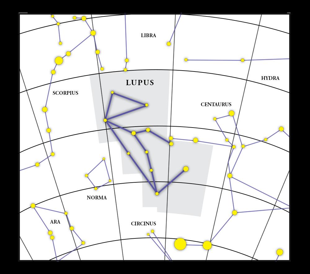 Mappa della costellazione Lupus