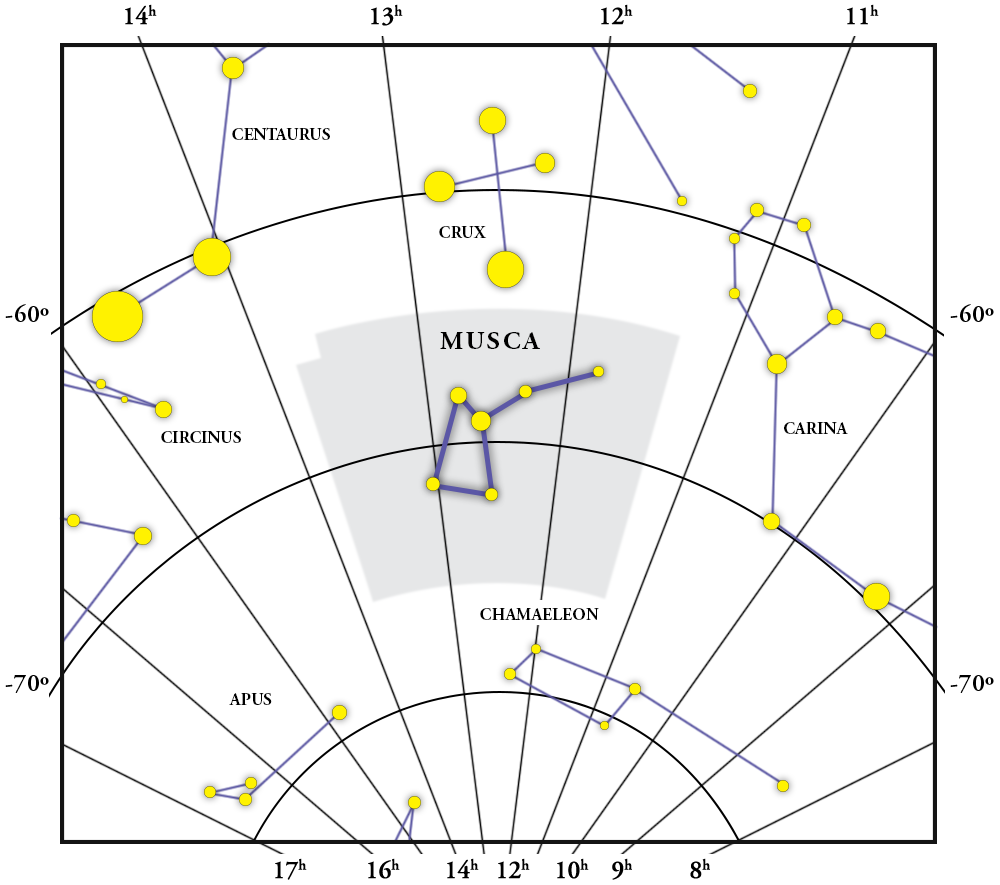 Musca Constellation Map