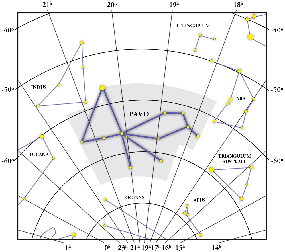 Pavo Constellation Map