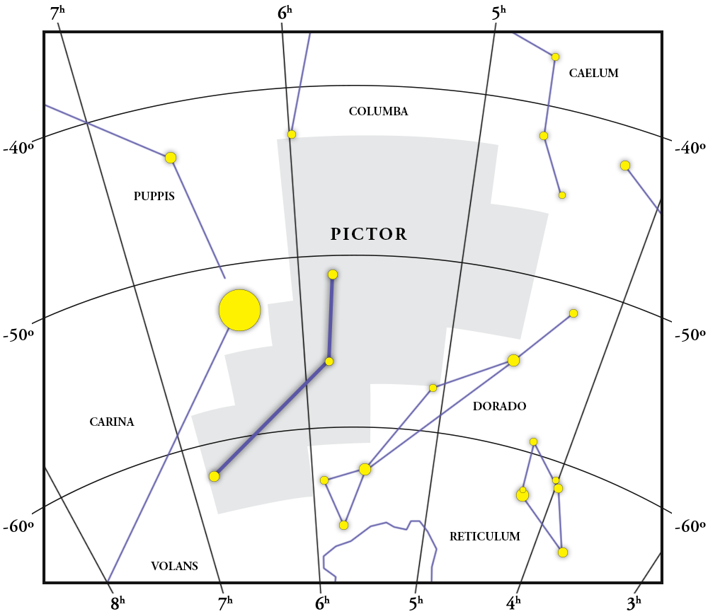 Pictor Constellation Map