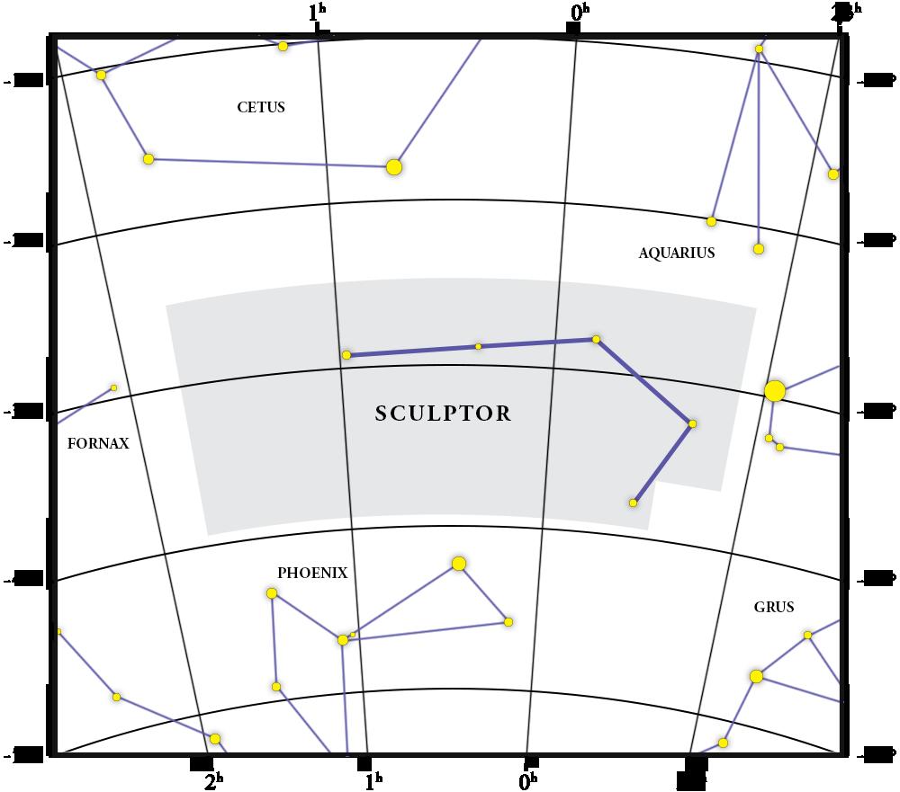 Mappa della costellazione Sculptor
