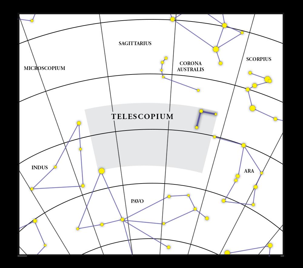 Telescopium Takımyıldızı Haritası