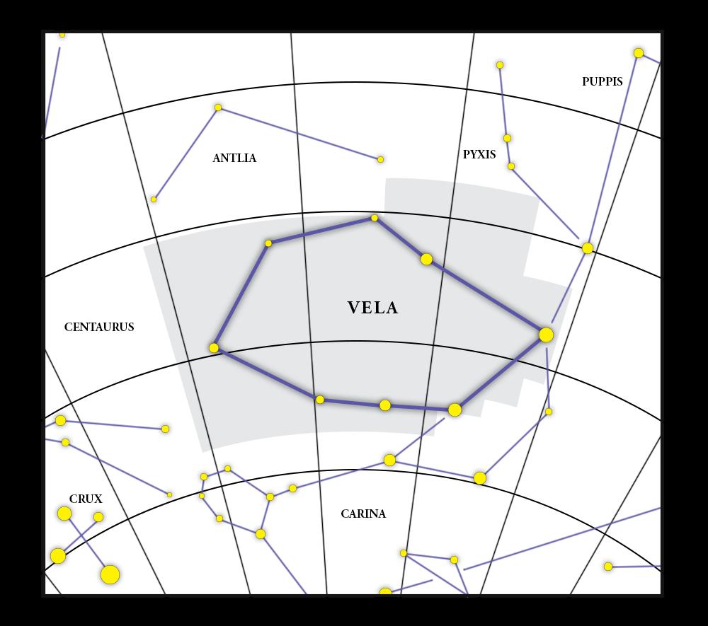 Vela Constellation Map